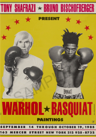 1985 Art Exhibition Poster - Paintings by Warhol & Basquiat